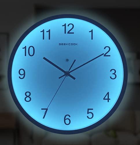 TYPING Luminoso Silenciosos Reloj De Pared con Control De Luz Y Función Luminosa LED De Control por Voz Silencio 30CM Black