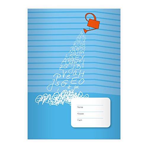 Kartenkaufrausch Fris ABC DIN A5 Grundschul schrift met gieter op strepen op geel contrasterende liniatuur 2 16 Schulhefte lichtblauw