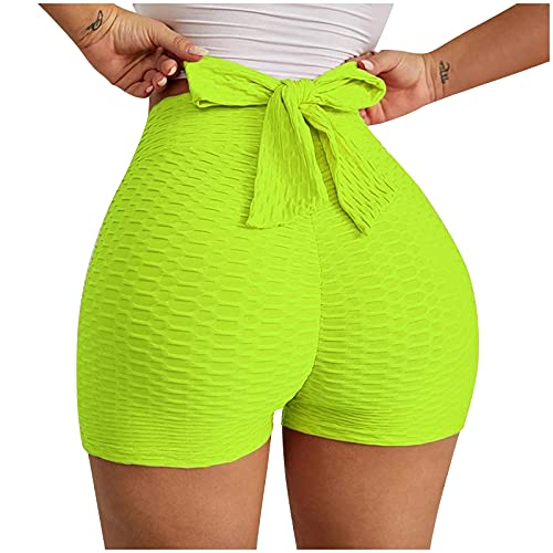 ldgr Butt Lift Shorts tiktok Leggings for Women High Waisted Textured Booty Tights Bow Tie Stretchy Workout Yoga Shorts