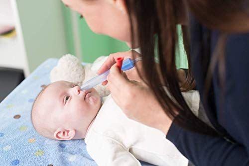 Rotho Babydesign Nasensekretsauger, Inkl. 4 Hygienefilter, Nachfüllbar, Ab 0 Monaten, NoseFrida, 50×2,3×2,3cm,  Blau/Weiß, 200830012 - 5