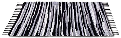 Bestlivings Flickenteppich 60 x 90 cm aus handgewebter Baumwolle in Schwarz - Weiß - Grau, viele Variationen