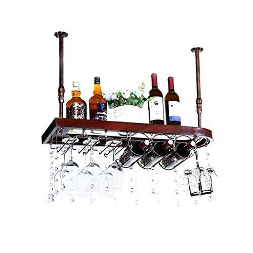 DUOER-Weinregale Industrielles festes hölzernes Eisen-hängendes Wein-Gestell, kreativer an der Wand befestigter Champagner-Glas-Becher-Stemware-Zahnstangen-Halter (Größe : 60 * 31cm)