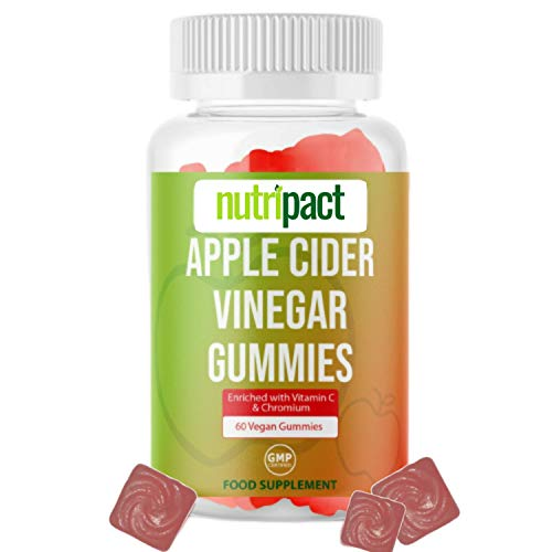 Vegan Apple Cider Vinegar Gummies - Enhanced with Vitamin C, Chromium & Pomegranate Extract - 1000mg ACV per Serving - 60 Gummies not Capsules or Tablets - Vegetarian & Gluten-Free