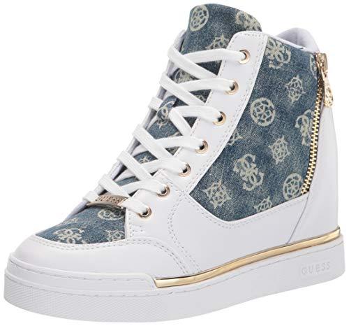 GUESS Women's Figz Sneaker, White Multi, 7.5