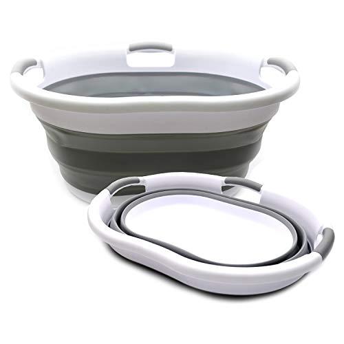 SAMMART Set of 2 Collapsible Plastic Laundry Basket - Oval TubBasket - Foldable Storage ContainerOrganizer - Portable Washing Tub - Space Saving Laundry Hamper Grey 2