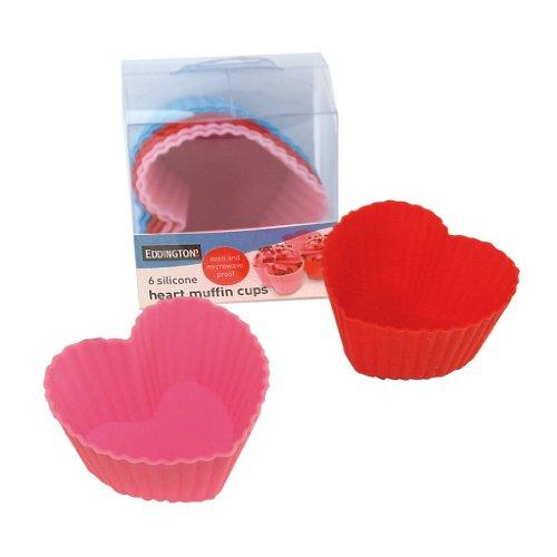 Eddingtons Lot de 12 caissettes à muffin en silicone en forme de cœur