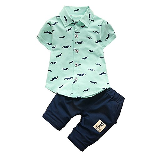 Summer Clothes Newborn Baby Outfit Shirts for Boys Sets Short Sleeve Shirt +Pant 2pcs Suit(Green,24M)