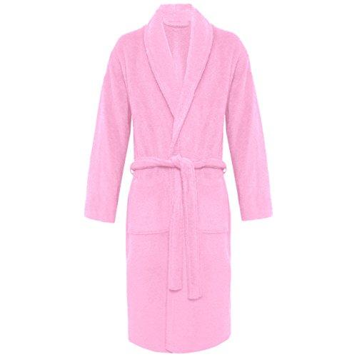 Myshoestore Accappatoio unisex di spugna in cotone egiziano al 100%, con tasche e cintura estremamente morbido, può essere usato come vestaglia, giacca da camera rosa Pink / Shawl Neck