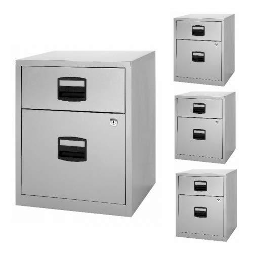4x Home Office Rollcontainer • Schreibtisch- Metallcontainer • Bisley