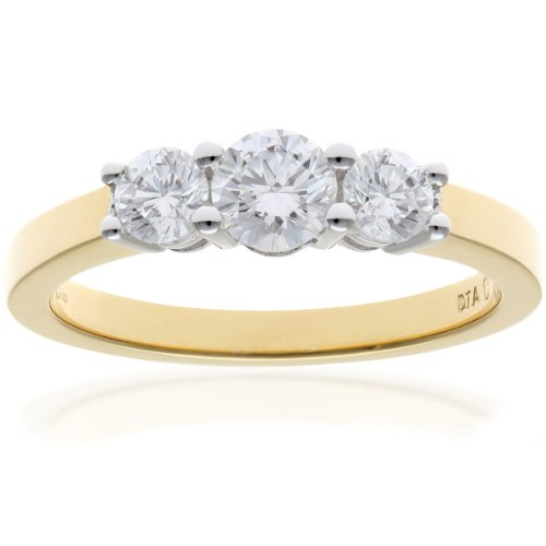 Naava Women's 18 ct Yellow Gold Trilogy Ring, H/SI Certified Diamonds, Round Brilliant, 0.75ct, Yellow Gold, L
