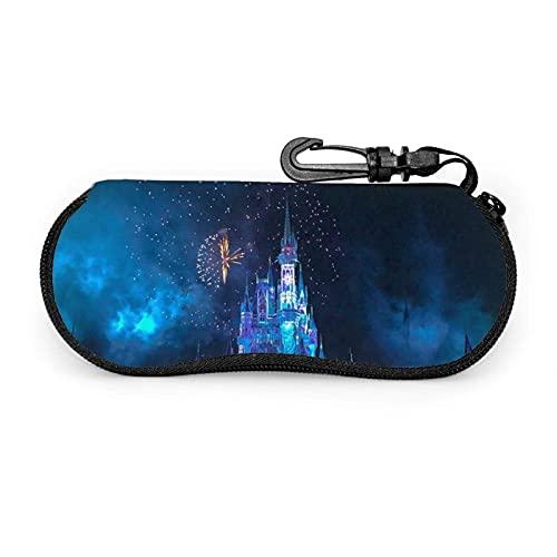 Caja de vidrios de la impresión del Castillo del Fuego Artificial, Caja portátil Ultraligera de Las Gafas de Sol de la Cremallera del Neopreno