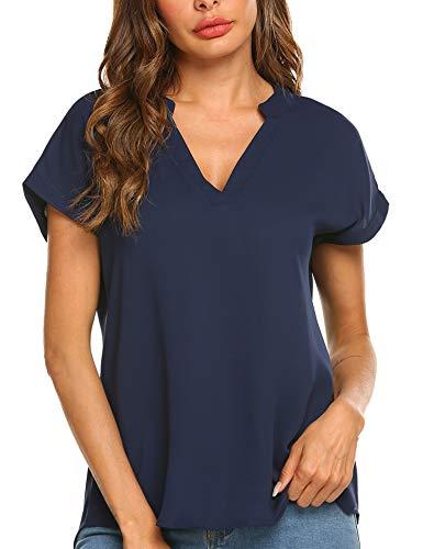 Parabler Damski T-shirt na lato, bluzka szyfonowa, jednokolorowa, z krótkim rękawem, na co dzień, tunika, dekolt w kształcie V