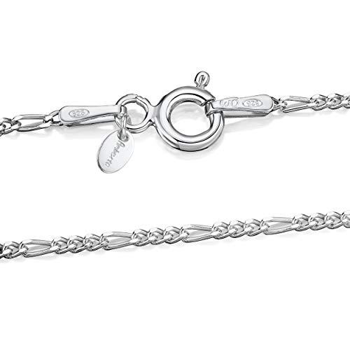 Amberta 925 Sterlingsilber Damen-Halskette - Figaro kette - 1.5 mm Breite - Verschiedene Längen: 40 45 50 55 60 cm (45cm)