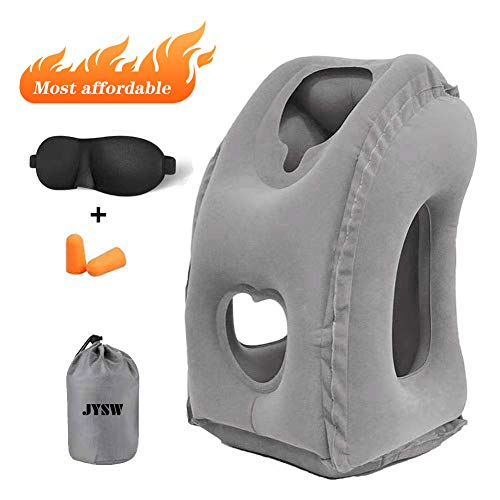 JYSW Inflatable Travel Pillow, Portable Airplane Pillow Multifunctional Neck and Head Support Lap...