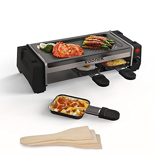 Raclette 2 Personen Mini Raclette Tischgrill Elektrisch 3 Pfännchen 3 Raclette Holzspatel Racklettgrill Korean BBQ Grill Elektrogrill Antihaftbeschichtete Grillplatte 700 Watt, Schwarz