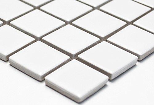 Mosaik-Netzwerk Mosaikfliese Quadrat uni weiß matt Keramik Mosaik, Mosaikstein Format: 2,5x2,5x6 mm, Bogengröße: 330x302 mm, 1 Bogen/Matte