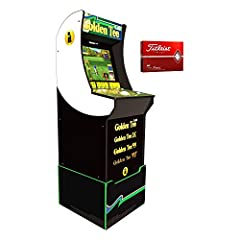 Golden Tee Arcade Machine w/Riser AND a 12-pack Titleist Golf Balls Bundle. Golden Tee Classic Home Arcade from Arcade1Up includes a custom, one-foot riser creating a classic upright arcade experience along with a light-up marquee. Machine Dimensions...