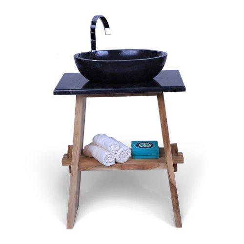 wohnfreuden Teakholz Waschtisch-Unterschrank mit Mamor Platte 60x40x74 cm schwarz für Bad Gäste WC