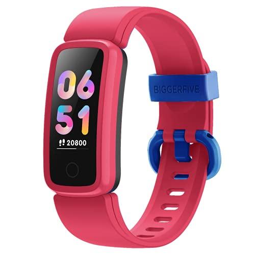 BIGGERFIVE Vigor Fitness Armband Uhr für Kinder Mädchen Junge Teenager, Fitness Tracker Smartwatch mit Schrittzähler Pulsuhr Kalorienzähler und Schlafmonitor, IP68 Wasserdicht Aktivitätstracker