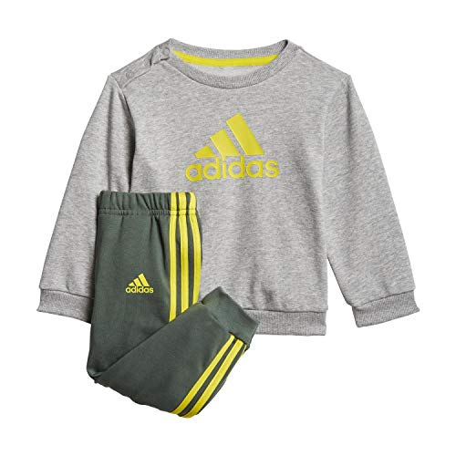 adidas GM8979 I BOS Jog FT Tuta da Ginnastica Unisex - Bimbi 0-24 Top:Medium Grey Heather/Yellow Bottom:Green Oxide s21/yellow 2-3A