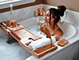 3-in-1 Premium Bathtub Caddy, Laptop Desk & Bed Tray with Extendable Arms and Adjustable Legs - Includes a Free Soap Dish, Two Spa Trays and Tablet/Wine Glass/Candle/Phone Holders - Natural Bamboo