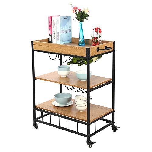 Carro de servicio, 3 niveles para carrito de bar, cocina, comida, bebida, estante de almacenamiento, estación de té, soporte de mesa lateral, estantes de almacenamiento con estante