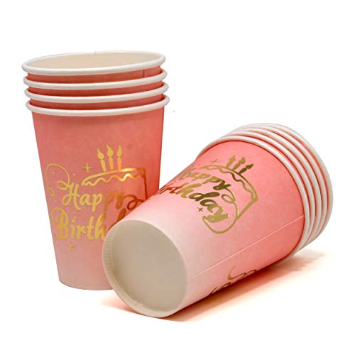 50 Count 9 oz Happy Birthday Cups Gold Foil on Pink Ombre for 1st Birthday Baby Shower Decorations Girls Women Unicorn Birthday Party Supplies