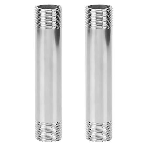 2 Stück 10 cm lange Edelstahl-Nippelrohrverbindung mit gleichem Durchmesser Außengewinde-Rohrverschraubungen Edelstahl mit gleichem Durchmesser Gewinderohr-Nippelverbinder-Sanitärarmaturen(01)