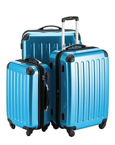 HAUPTSTADTKOFFER - Alex - 3er Koffer-Set Trolley-Set Rollkoffer Reisekoffer Erweiterbar,  4 Rollen, (S, M & L), Cyanblau