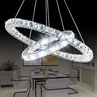 Saint Mossi Modern K9 Crystal Circular Raindrop Chandelier Lighting Flush Mount LED Ceiling Light Fixture Pendant Lamp for Dining Room Bathroom Bedroom Livingroom H39