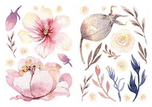 dekodino® Pegatina de pared Flores y flores de acuarela decoración de paredes
