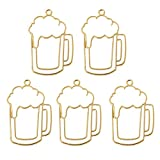 KINTRADE 5 Unids Cerveza Tumbler Resina Marco En Blanco Colgante Bisel Abierto Ajuste Fabricación de Joyas