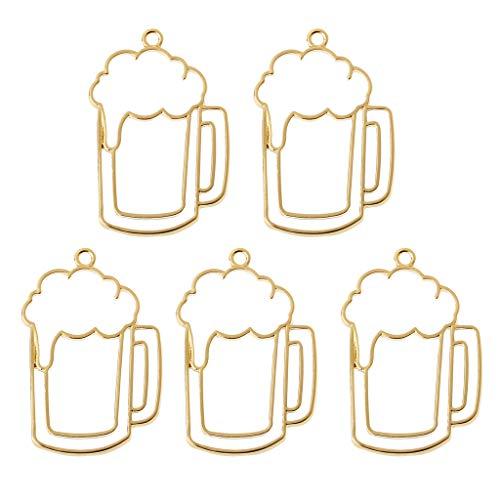A0127 - Colgantes para creación de Joyas, 5 Unidades, Marco Virgen, bisutería, fabricación de Joyas con Jarra de Cerveza de Oro, Resina