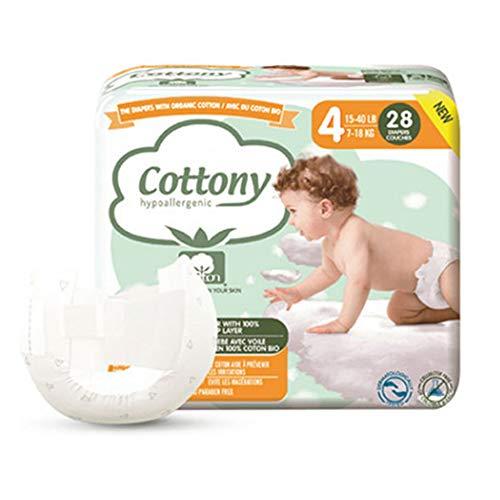 Cottony Couches avec du Coton Bio 28 Couches Taille 4 (7-18 kg)