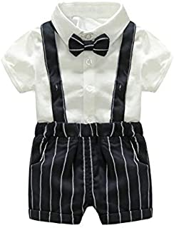 Baby Girl Clothes, Autumn Toddler Boy 0-3 Months Baby Girl Clothes, Gentleman Boy Striped Tie Jumpsuit and Shorts Baby Clothes Girl for Wear on The Body Gift Photograph Home Outdoor