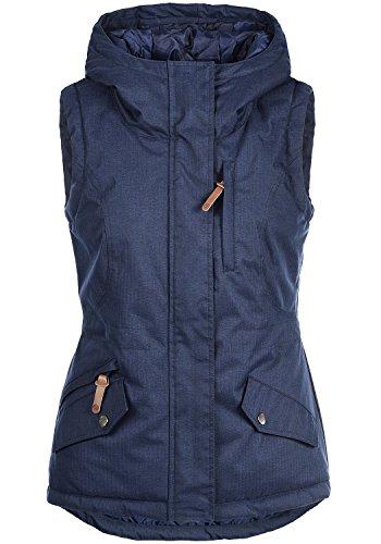 OXMO Bellissa Damen Weste Outdoor-Weste mit Kapuze und Stehkragen, Größe:XS, Farbe:Insignia Blue (1991)