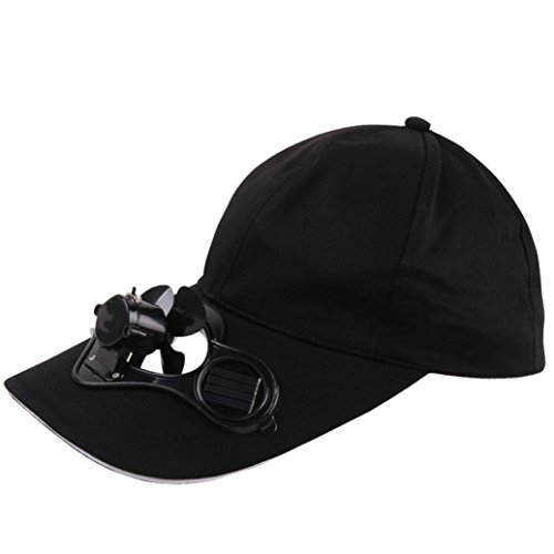 Creazy Camping Hiking Peaked Cap with Solar Powered Fan Baseball Hat Cooling Fan Caps (Black)