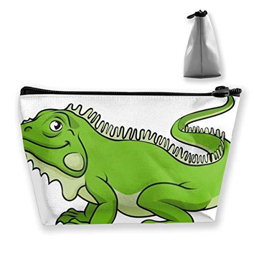 Un Organizador de Maquillaje Happy Green Cartoon Iguana Lizard, Bolsa de Aseo, para Pinceles, Estuche para lápices