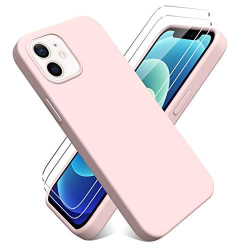 Oududianzi - Cover per iPhone 12/iPhone 12 PRO(6.1'') + [2 Pack] Pellicola Protettiva in Vetro Temperato, Custodia Liquid Silicone TPU Cover Ultra-Sottile AntiGraffio Antiurto Case - Rosa