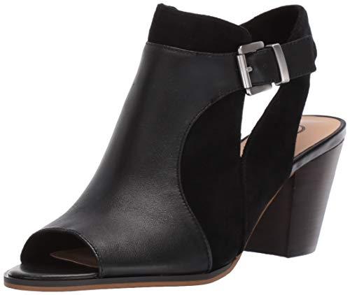 Bella Vita Women's Bella Vita Kellan block heel sandal Shoe, Black leather/suede leather, 7 N US