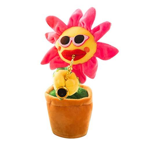 Ballylelly-Kreative Bezaubernde Sonnenblume singen tanzen Blume mit Saxophon 80 Songs lustige elektrische Musikspielzeug weiches Plüschspielzeug