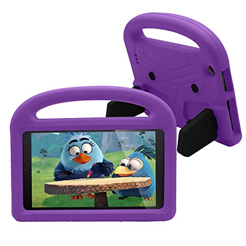 CASZONE Kids Case for All-New Kindle Fire 7 Tablet (9th/7th/5th Gen, 2019/2017/2015 Version), Non-Toxic EVA Durable Shockproof Lightweight Handle Folding Kickstand Cute Cover for Boys/Girls - Purple