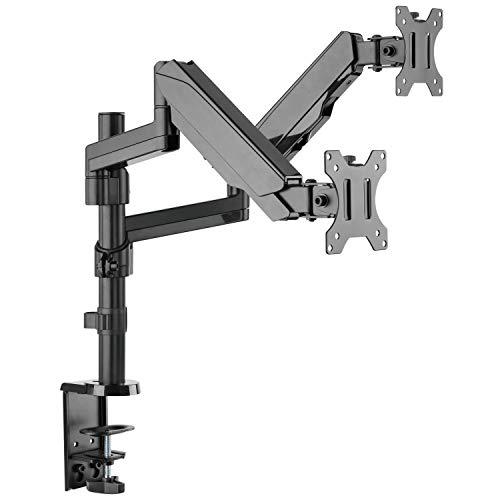 RICOO Tisch-Ständer Monitor-Halterung 2 Monitore Schwenkbar Neigbar (TS9611) Universal für 17-32 Zoll (bis 8-Kg, VESA 100x100) PC Computer Bildschirm Dual Schreibtisch-Stand-Fuss