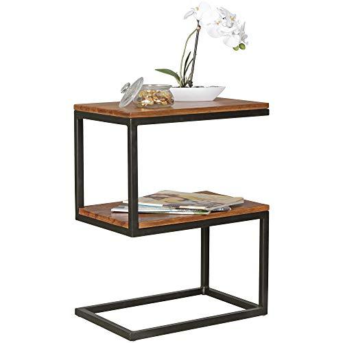 FineBuy Beistelltisch OLAKA S-Form Massiv-Holz Sheesham/Metall 45 x 60 x 30 cm | Design Wohnzimmertisch Landhaus-Stil | Anstelltisch Ablagetisch eckig