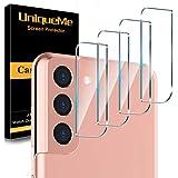 [4 Pack] UniqueMe Protector de Lente de cámara Compatible con Samsung Galaxy S21 / S21 Plus Cristal Templado, Protector de Pantalla [9H Dureza ] [Sin Burbujas] HD Vidrio Templado
