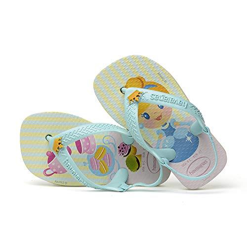Chinelo, Havaianas, New Baby Disney Princess, Branco/Ice Blue, 23/24, Bebê Unissex