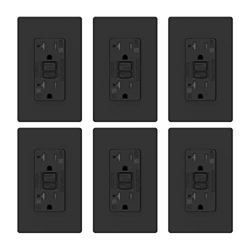 ELEGRP 20 Amp GFCI Outlet, 5-20R GFI Dual Receptacle, TR Tamper Resistant and WR Weather Resistant, Self-Test Ground Fault Circuit Interrupters, Wall Plate Included, UL Listed (6 Pack, Matte Black)