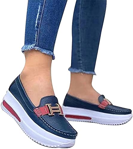 Comfortabel Platform Loafers, sleehak ronde teen PU wandelschoenen, Slip op platte boot schoenen, niet-Slip Comfort…