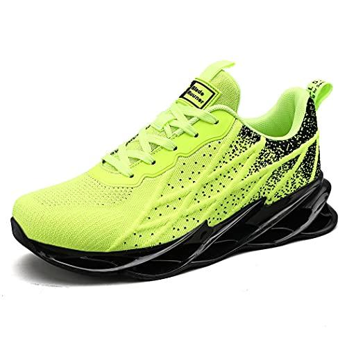 Zapatillas de Deporte Running Hombre Mujer Zapatos para Correr Calzado Deportivo Respirable Sneakers Ligero Gimnasio Deportivos Moda Casuales Fitness Outdoor Antideslizante Fluorescent Green 45