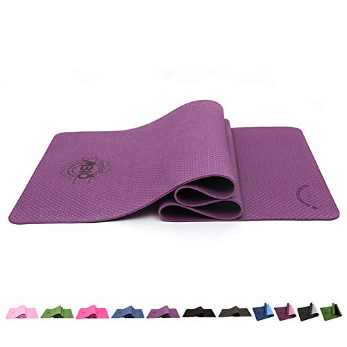 MBIO Yoga Mat Extra Thick 1/4 Inch TPE Non Slip Texture High Elastic Yoga Mats For Women 12+ Colors With Carrying Strap And Bag For Pilates Fitness Meditation & Floor Exercise By SGS Certified(purple)